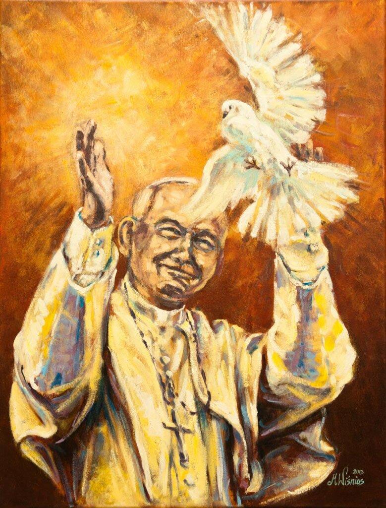 fot. Jan Paweł II z gołębiem - 1
